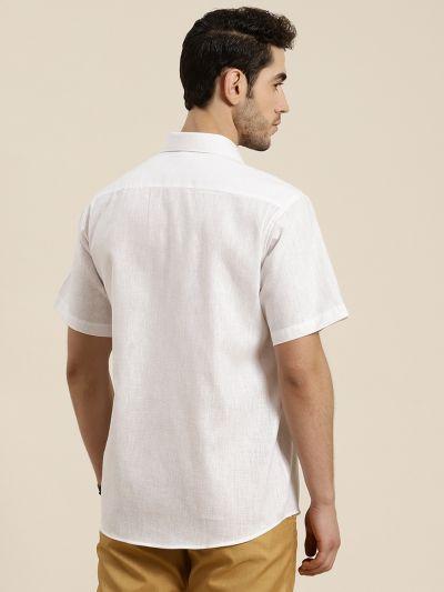 Sojanya (Since 1958), Men's Cotton Blend White Classic Casual Shirt