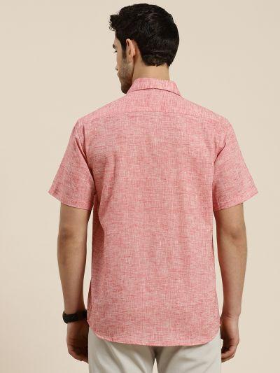 Sojanya (Since 1958), Men's Cotton Blend Coral Classic Casual Shirt