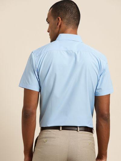 Sojanya (Since 1958), Men's Cotton Sky blue Classic Casual Shirt