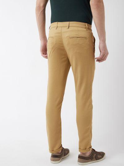 Sojanya (Since 1958) Men's Cotton Blend Khaki Woven Design Casual Trousers