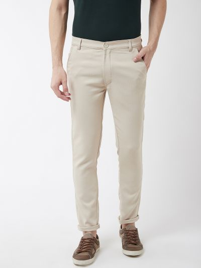 Sojanya (Since 1958) Men's Cotton Blend Beige Woven Design Casual Trousers