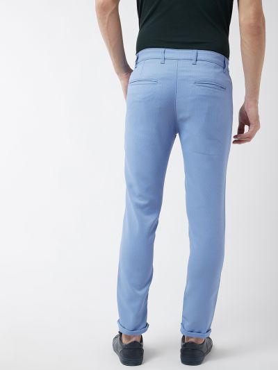 Sojanya (Since 1958) Men's Cotton Blend Blue Woven Design Casual Trousers