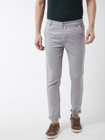 Sojanya (Since 1958) Men's Cotton Blend Grey Woven Design Casual Trousers