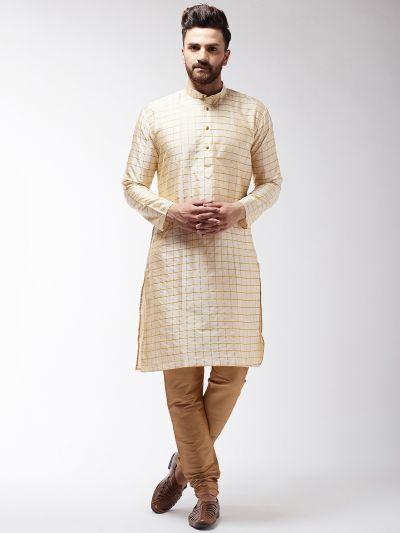 Sojanya (Since 1958) Men's Silk Blend Beige Checked Kurta & Gold Churidar Pyjama Set