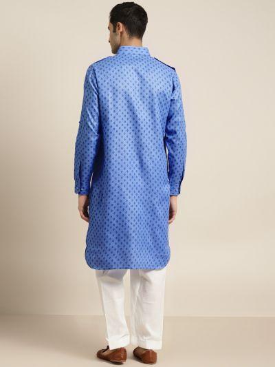 Sojanya (Since 1958), Cotton Blend Blue Pathani Kurta With Salwar Set