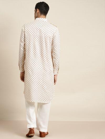 Sojanya (Since 1958), Cotton Blend Fawn Pathani Kurta With Salwar Set