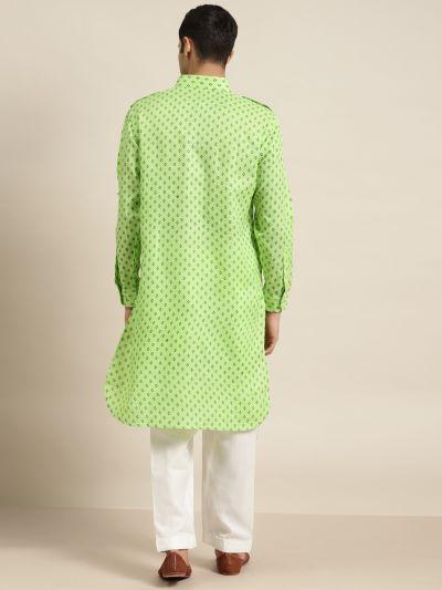 Sojanya (Since 1958), Cotton Blend Green Pathani Kurta With Salwar Set