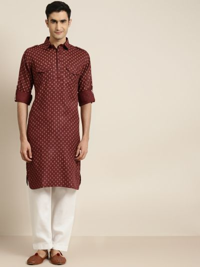 Sojanya (Since 1958), Cotton Blend Maroon Pathani Kurta With Salwar Set