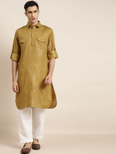 Sojanya (Since 1958), Cotton Blend Mustard Pathani Kurta With Salwar Set