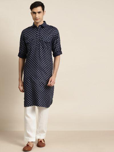 Sojanya (Since 1958), Cotton Blend Navy Blue Pathani Kurta With Salwar Set