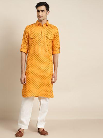 Sojanya (Since 1958), Cotton Blend Orange Pathani Kurta With Salwar Set