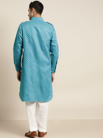 Sojanya (Since 1958), Cotton Blend Teal Blue Pathani Kurta With Salwar Set
