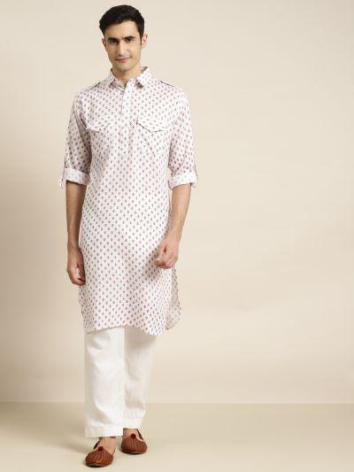 Sojanya (Since 1958), Cotton Blend White Pathani Kurta With Salwar Set