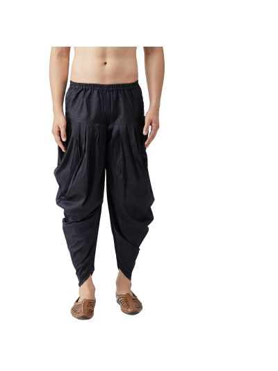 Sojanya (Since 1958), Men's Silk Blend Black Harem Pant