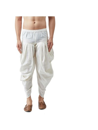 Sojanya (Since 1958), Men's Silk Blend Off-White Harem Pant