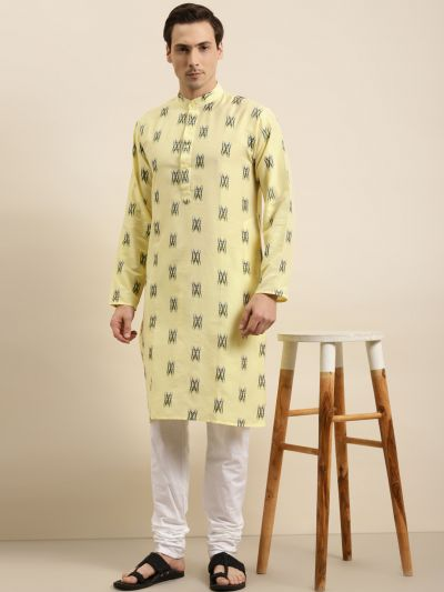 Sojanya (Since 1958) Men's Cotton Light Yellow & Black Churidar Pyjama Set