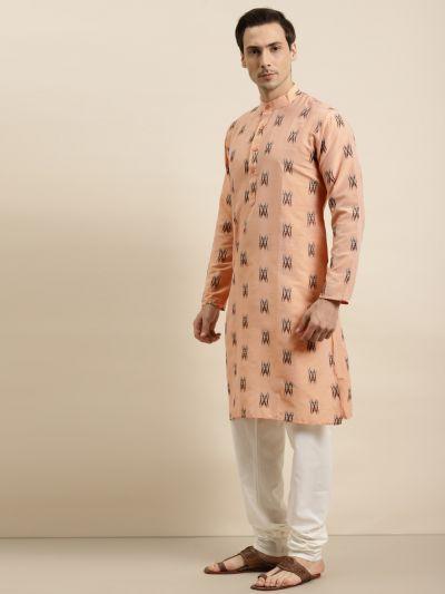Sojanya (Since 1958) Men's Cotton Light Peach & Black Churidar Pyjama Set