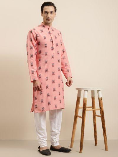 Sojanya (Since 1958) Men's Cotton Dark peach & Black Churidar Pyjama Set