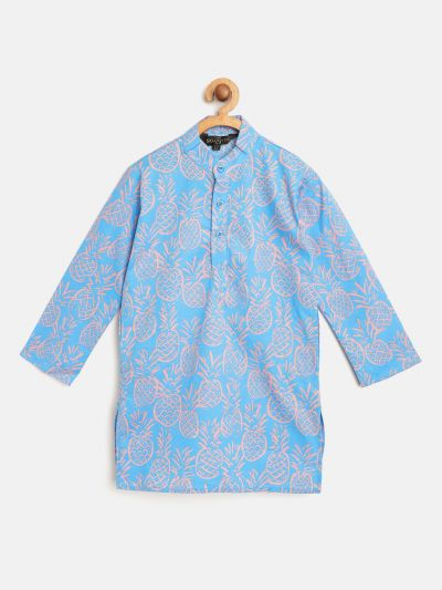 Sojanya (Since 1958), Kids Cotton Sky Blue printed ONLY Long Kurta