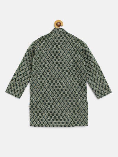Sojanya (Since 1958), Kids Jacquard Silk Dark Green Self design ONLY Kurta