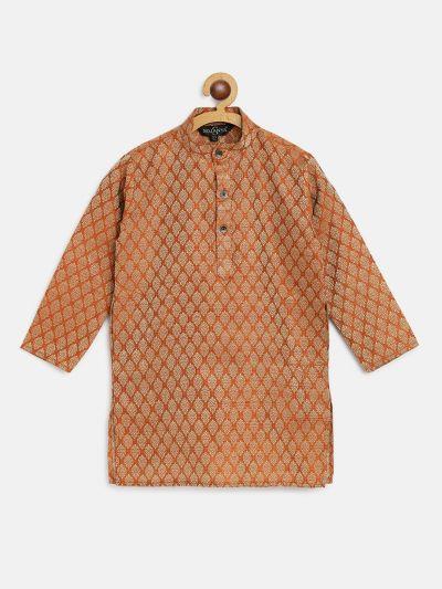 Sojanya (Since 1958), Kids Jacquard Silk Orange Self design ONLY Kurta