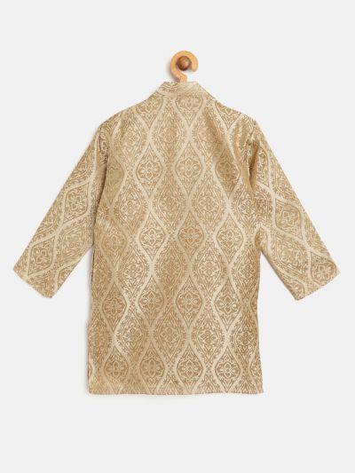 Sojanya (Since 1958), Kids Jacquard Silk Beige & Gold ONLY Long Kurta