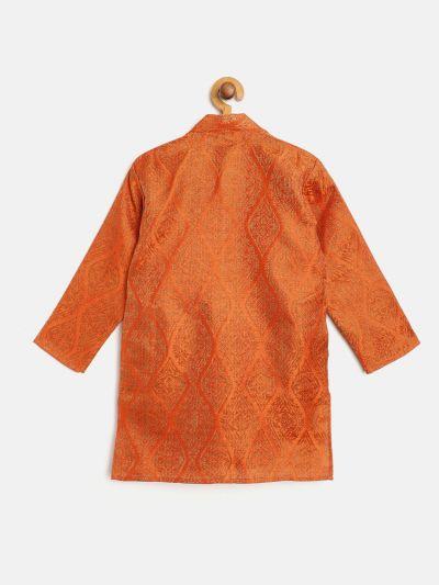 Sojanya (Since 1958), Kids Jacquard Silk Orange & Gold ONLY Long Kurta