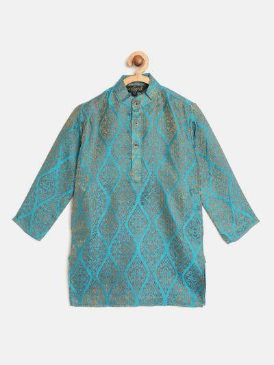 Sojanya (Since 1958), Kids Jacquard Silk Teal Blue & Gold ONLY Long Kurta