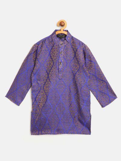 Sojanya (Since 1958), Kids Jacquard Silk Royal Blue & Gold ONLY Long Kurta