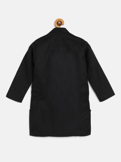 Sojanya (Since 1958), Kids Cotton Silk Black Solid ONLY Long Kurta