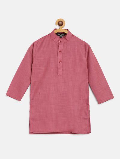Sojanya (Since 1958), Kids Cotton Silk Dark Coral Solid ONLY Long Kurta