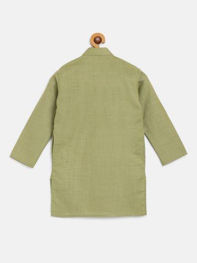 Sojanya (Since 1958), Kids Cotton Silk Pista green Solid ONLY Long Kurta