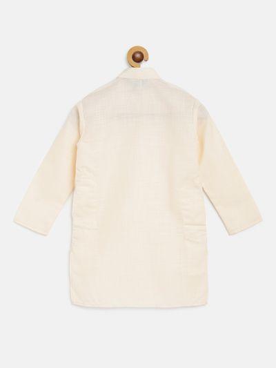 Sojanya (Since 1958), Kids Cotton Silk Cream Solid ONLY Long Kurta