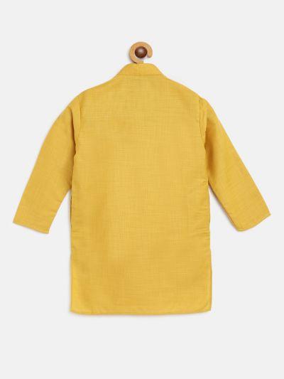 Sojanya (Since 1958), Kids Cotton Silk Mustard Solid ONLY Long Kurta
