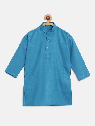 Sojanya (Since 1958), Kids Cotton Silk Peacock Blue Solid ONLY Long Kurta