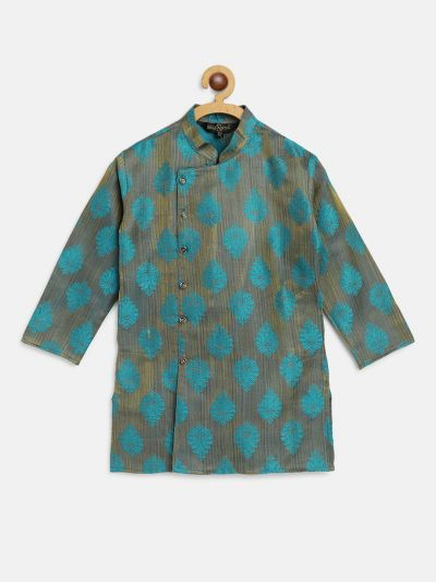 Sojanya (Since 1958), Kids Jacquard Silk Teal blue Self Design ONLY Long Kurta