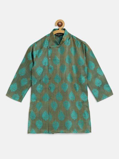 Sojanya (Since 1958), Kids Jacquard Silk Dark Green Self Design ONLY Long Kurta