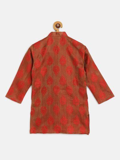 Sojanya (Since 1958), Kids Jacquard Silk Red Self Design ONLY Long Kurta