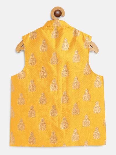 Sojanya (Since 1958), Kids Jacquard Silk Mustard & Gold Self Design ONLY Nehru Jacket