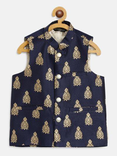 Sojanya (Since 1958), Kids Jacquard Silk Navy Blue & Gold Self Design ONLY Nehru Jacket