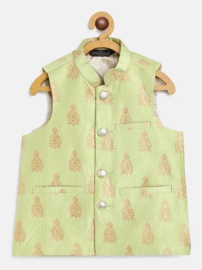 Sojanya (Since 1958), Kids Jacquard Silk Green & Gold Self Design ONLY Nehru Jacket