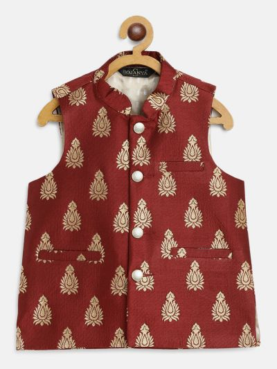 Sojanya (Since 1958), Kids Jacquard Silk Maroon & Gold Self Design ONLY Nehru Jacket