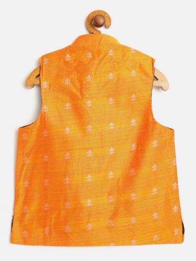 Sojanya (Since 1958), Kids Cotton Blend Orange Self Design ONLY Nehru Jacket