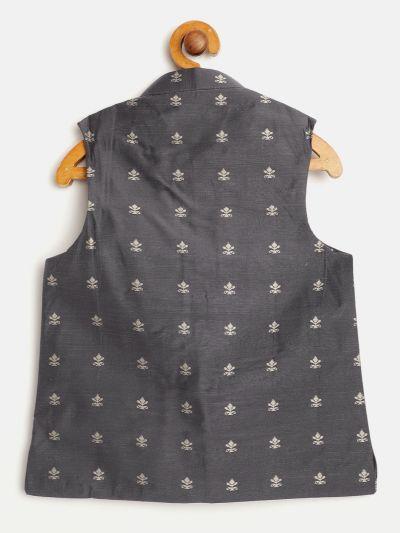 Sojanya (Since 1958), Kids Cotton Blend Grey Self Design ONLY Nehru Jacket