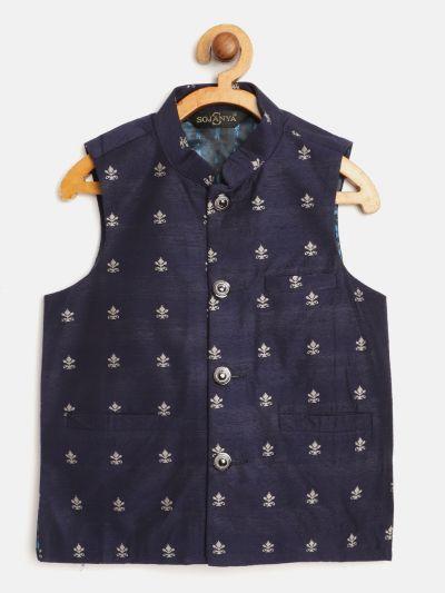Sojanya (Since 1958), Kids Cotton Blend Navy Blue Self Design ONLY Nehru Jacket