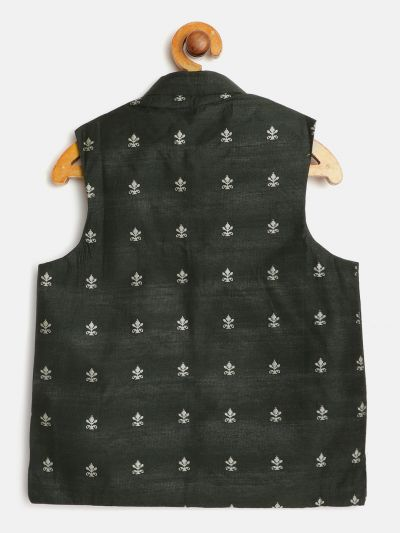 Sojanya (Since 1958), Kids Cotton Blend Dark Green Self Design ONLY Nehru Jacket