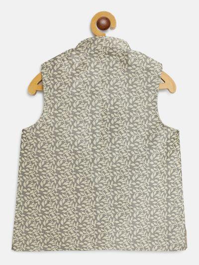 Sojanya (Since 1958), Kids Jacquard Silk Beige Self design ONLY Nehrujacket