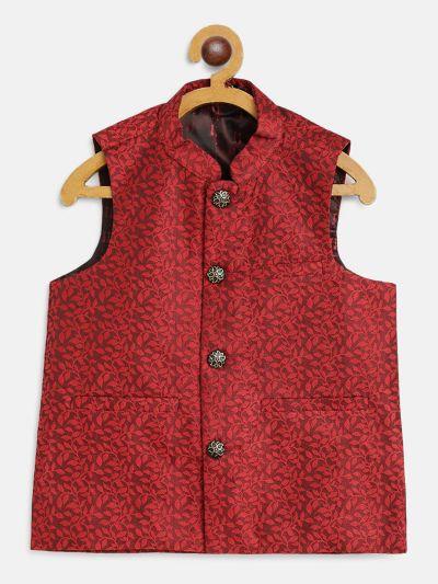 Sojanya (Since 1958), Kids Jacquard Silk Red Self design ONLY Nehrujacket