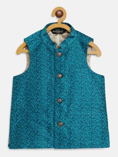 Sojanya (Since 1958), Kids Jacquard Silk Turquoise Blue Self design ONLY Nehrujacket