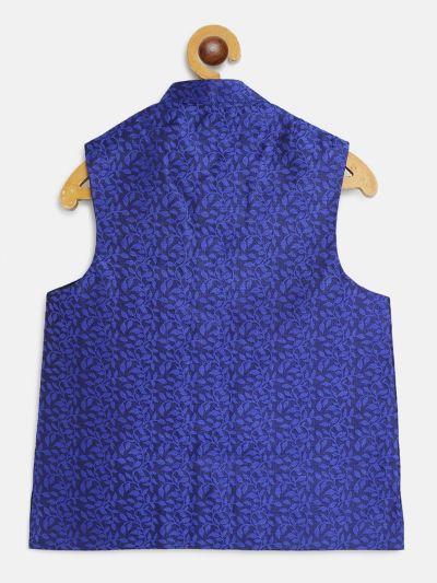 Sojanya (Since 1958), Kids Jacquard Silk Royal Blue Self design ONLY Nehrujacket